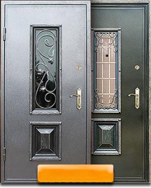 российская входная дверь железная с окном и ковкой